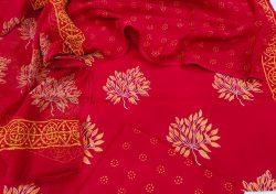 Crimson red cotton suit with kota doria dupatta set