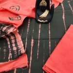 Orange red and black shibori print cotton suit set