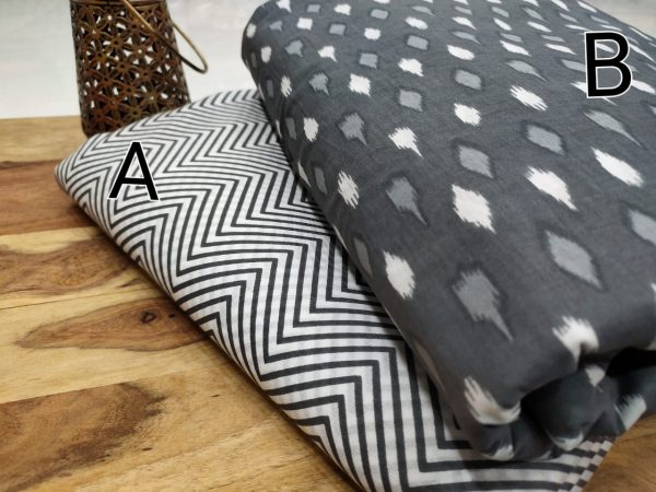 taupe And Black white pure cotton running material set