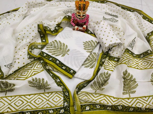 Superior quality green and white mulmul dupatta suit set