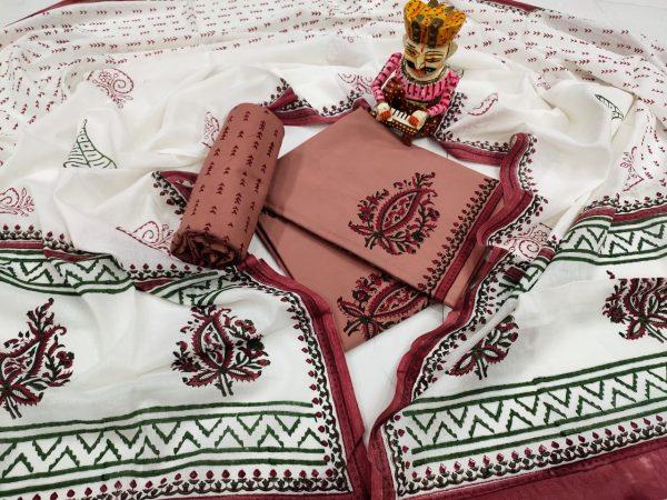 Blush and white cotton mulmul dupatta suit