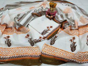 Beautiful White Mugal print cotton mulmul dupatta suit set