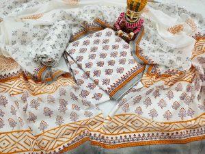 Beautiful White cotton mulmul dupatta suit set