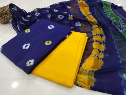 yellow and Blue pure chiffon cotton suit set