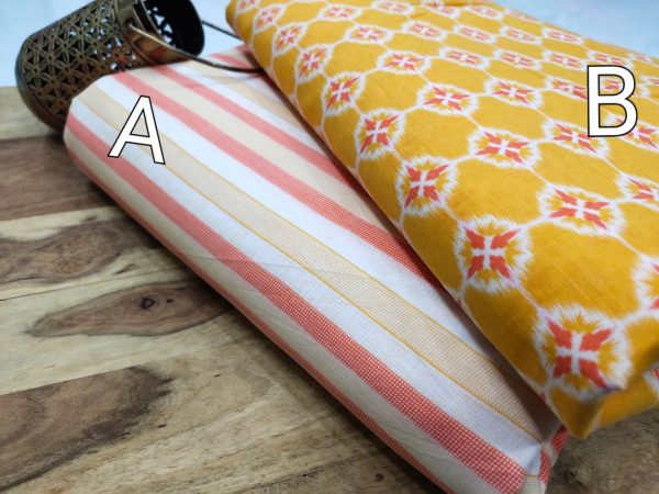 Yellow and white pink pure cotton running material set