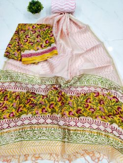 yellow floral print chanderi suit set with salwaar kameez set