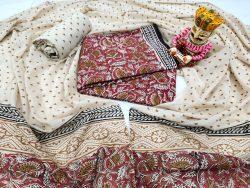 Beige and carmine floral print pure cotton mulmul dupatta suit set