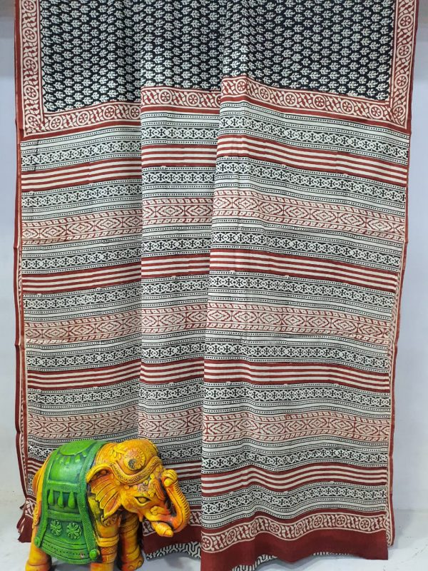 carmine Pure Cotton mulmul saree with blouse