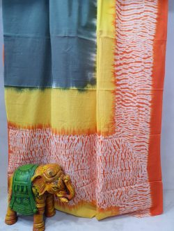 Exclusive Orange and yellow pure cotton printed traditional saree with blouse