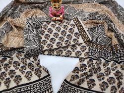Beige and Dark Brown floral print cotton mulmul dupatta suit set