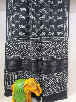 Exclusive Black pure cotton printed traditional saree with blouse