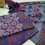 Blue pure zari border cotton suit pure chiffon dupatta