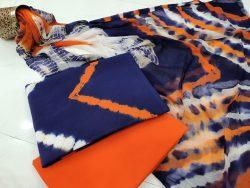 beautiful Orange and blue chiffon dupatta suit set