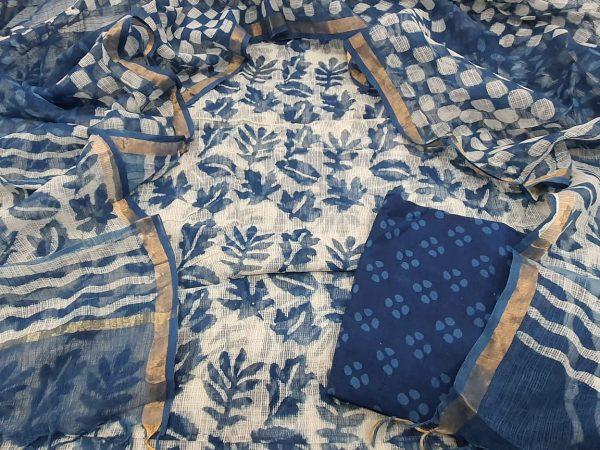 Superior quality indigo blue kota doria suit set
