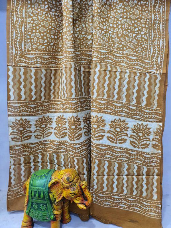 Bagru print Bronze printed saree material
