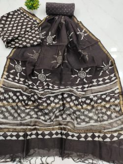 Traditional taupe chanderi suit set