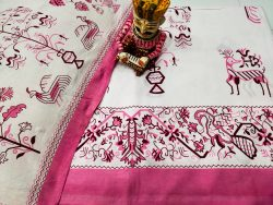 pink and White Cotton double bedsheet with two pillow cover