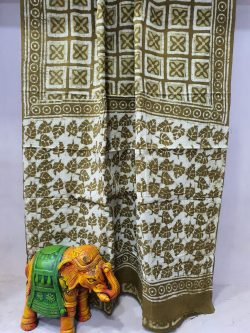 Jaipuri Olive printed saree with blouse