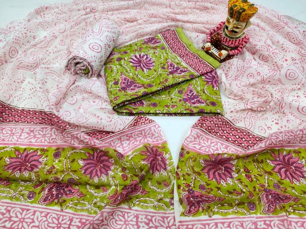 Exclusive Pink and Lime Cotton salwar kameez set with mulmul dupatta