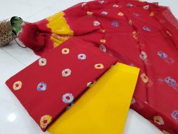Superior quality Crimson and yellow pure chiffon dupatta suit set