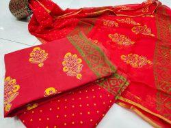 Exclusive Crimson mugal print Zari border suit dress material