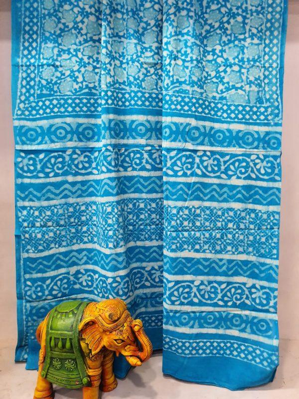 Superior quality Azure blue printed saree new design
