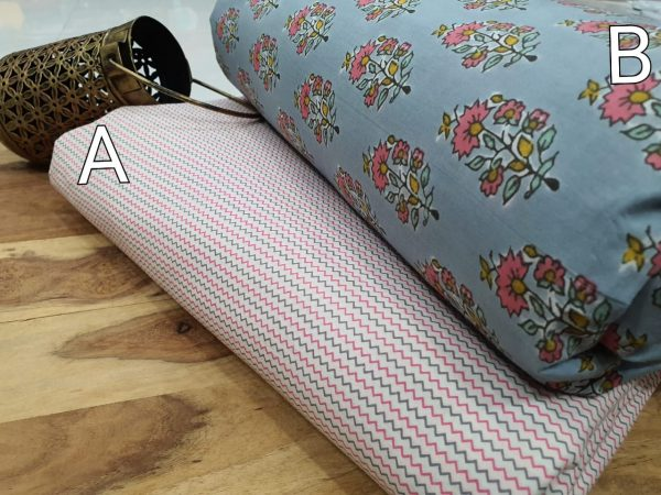 blue floral print pure cotton running material