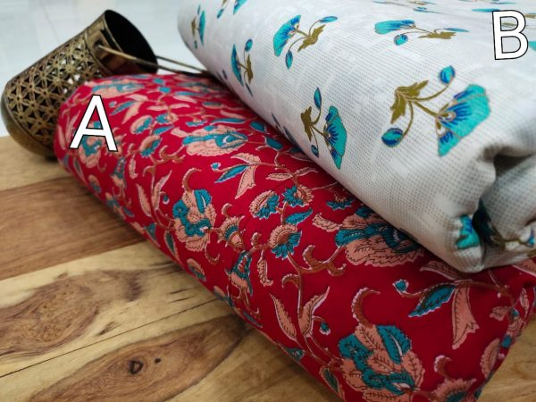 Crimson Red and white floral print pure cotton running material set