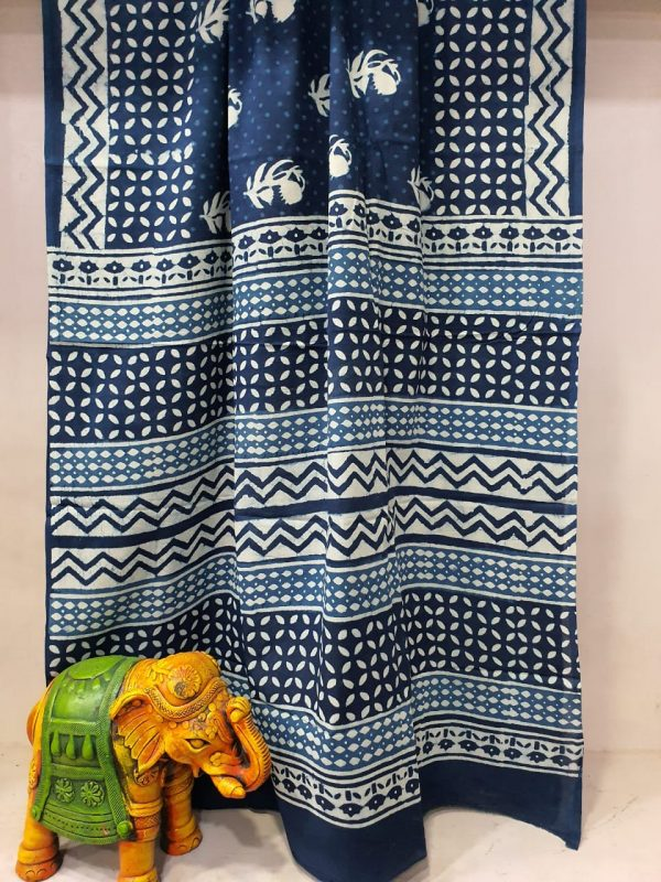 Superior quality Navy blue simple daily wear saree with blouse