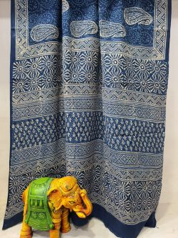 latest daily wear Cobalt blue malmal printed saree with blouse