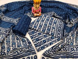 Unstitched Prussian blue pure cotton mulmul dupatta suit set