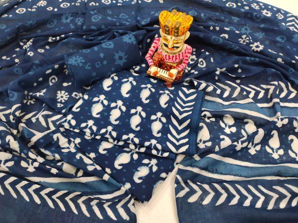 Superior quality Prussian blue pure cotton mulmul dupatta suit set