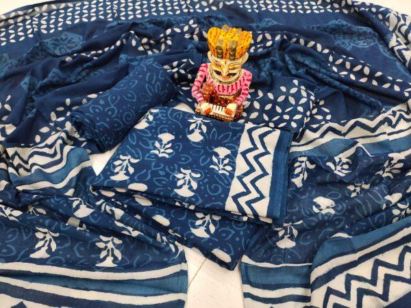 Traditional Navy blue pure cotton mulmul dupatta suit set