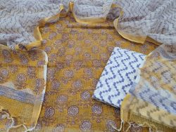 bagru print yellow and white pure kota doria suit set cottom bottom