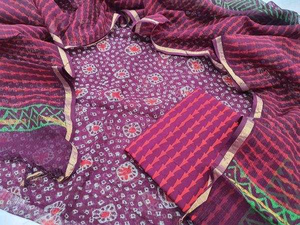 Traditional Red-violet Kota Doria Suit set cottom bottom