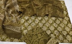 jaipuri olive cotton suit with kota doria dupatta set