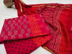 Crimson zari border cotton suit pure chiffon dupatta