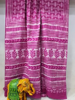 Magenta bagru print Pure cotton mulmul saree with blouse