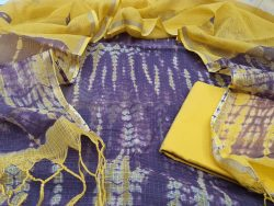 Beautiful Yellow shibori print Kota Doria Suit set cottom bottom