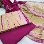 Pink and Limezari border cotton suit pure chiffon dupatta