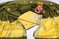 Yellow and dark olive cotton dupatta suit set