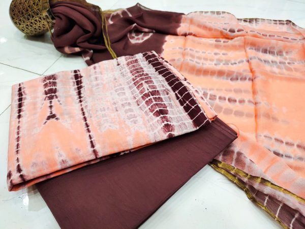 Superior quality Apricot and Maroon Zari border suit dress material