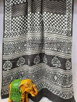 Beautiful taupe bagru print cotton mulmul saree
