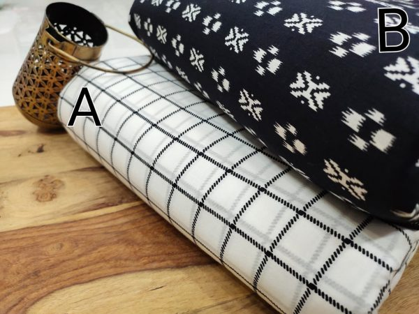 Superior quality White and black pure cotton running material set