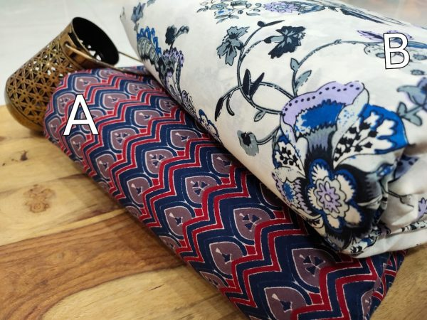 Floral print Blue and white pure cotton running material set