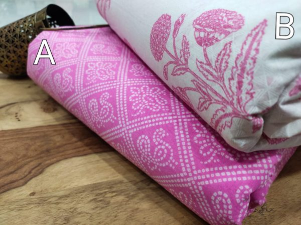Pink and white floral print running material set