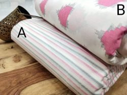 White pink pure cotton running Material set