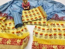 Yellow and Azure blue floral print cotton mulmul dupatta suit set