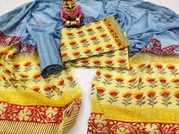 Yellow and Azure blue floral print cotton mulmul dupatta suit set