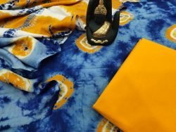 bagru print amber cotton mulmul dupatta suit set